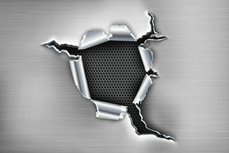 gaten: Rafelige gat in de metalen met bouten Stock Illustratie