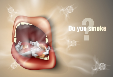 tobacco: The concept of anti-smoking  mouth with cigarette butts and smoke