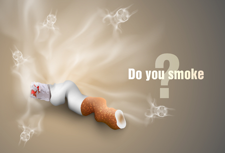 smoldering cigarette: The concept of anti-smoking cigarette butts and smoke Illustration