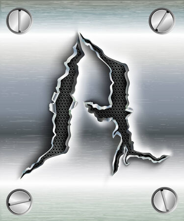 letter A cut out in metal Vector