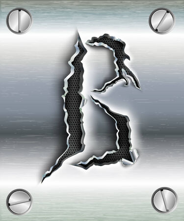 to cut out: letter B cut out in metal Illustration