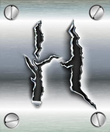 cromo: letra H cortar en metal Vectores