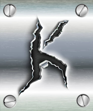 letter K cut out in metal Vector