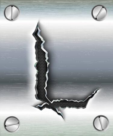 alphabet lettre: lettre L d�coup�e en m�tal Illustration