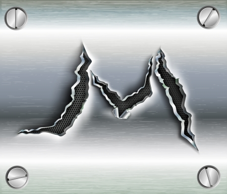 letter M cut out in metal Vector