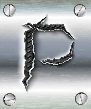 alphabet lettre: lettre P d�coup�e en m�tal Illustration