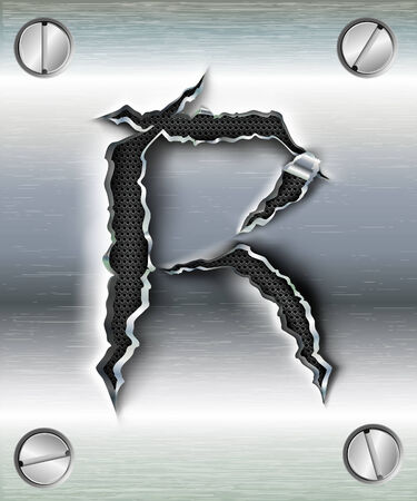 letter R cut out in metal Vector