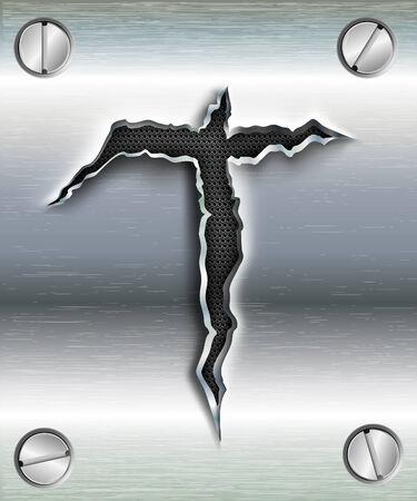adentro y afuera: letra T cortadas en metal