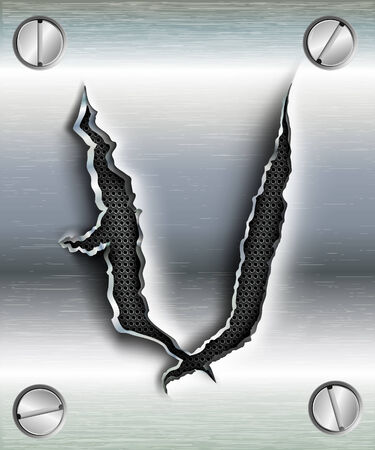 letter V cut out in metal Vector