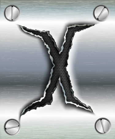 letter X cut out in metal Vector