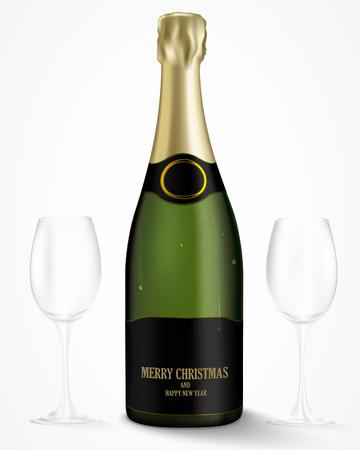 fles champagne met lege glazen