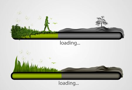 petrol powered: Loading bar with the loading of green  concept of ecology