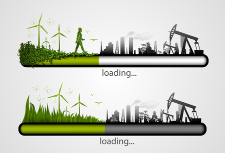 Loading bar with the loading of green  concept of ecology