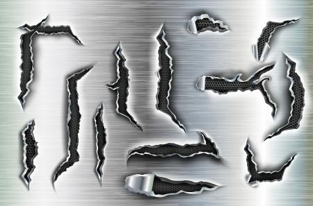Vector set van gehakte gaten in de metalen
