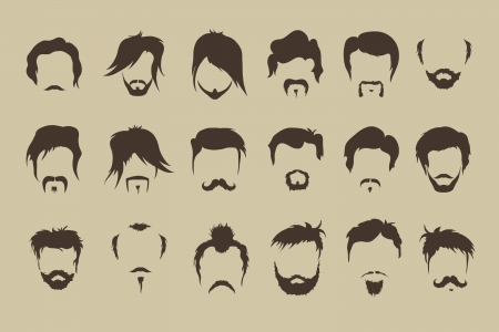Vector set haar, snor, baard Stock Illustratie