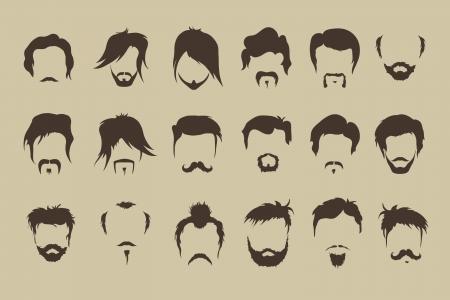 Vector set  hair, mustache, beard