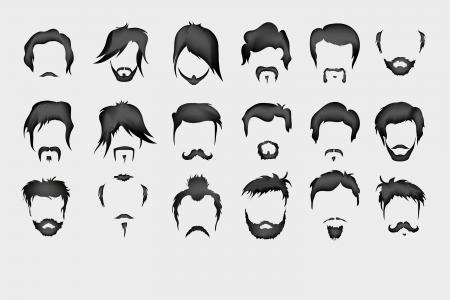 calavera caricatura: Vector conjunto de pelo, bigote, barba