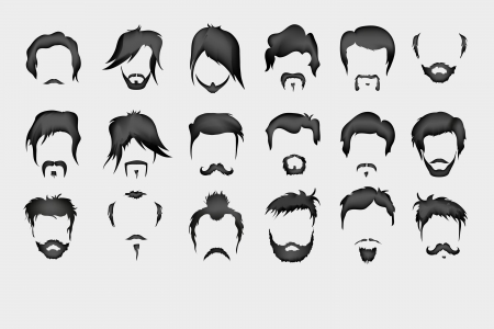 style goatee: Vector set  hair, mustache, beard