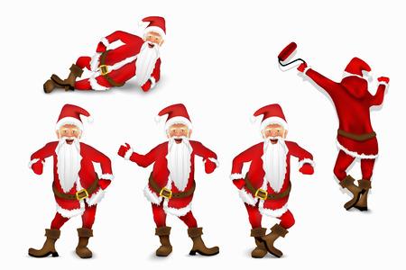 Set of vector Santa Claus Иллюстрация