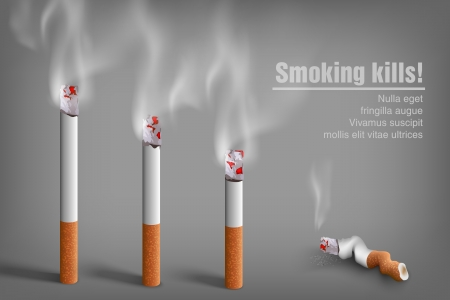 smoldering cigarette: smoking cigarettes  anti smoking concept Illustration