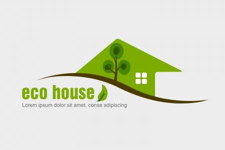 the countryside: concetto di casa ecologica dell'ecologia Vettoriali