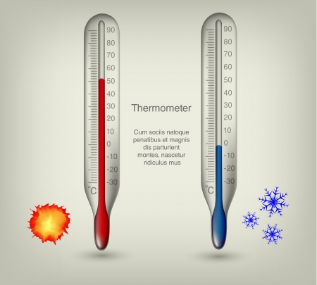 thermometers: thermometer icons with hot and cold temperatures