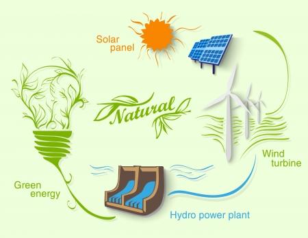 mundo contaminado: Diagrama de energ�a limpia Vectores