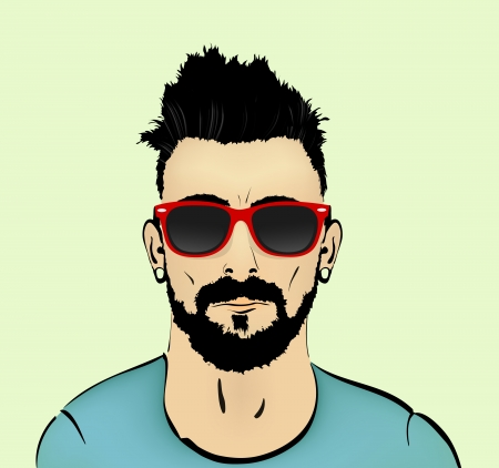 hair beard and mustache with a bust of the hipster Vector