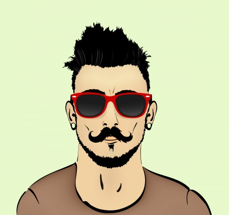 male hair model: hair beard and mustache with a bust of the hipster Illustration