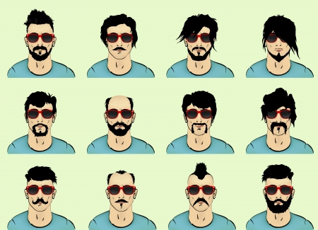 hair, beard and mustache with a bust of a man with glasses Vector