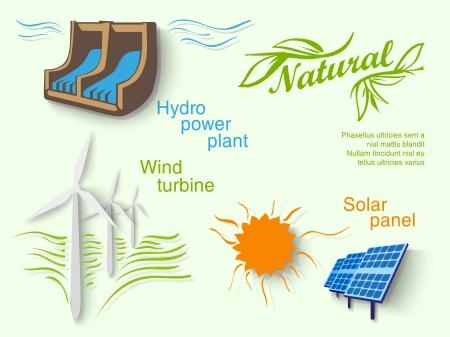 mundo contaminado: marcadores de papel iconos de energ�a limpia