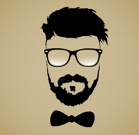 retro man: mustache beard glasses hairstyle
