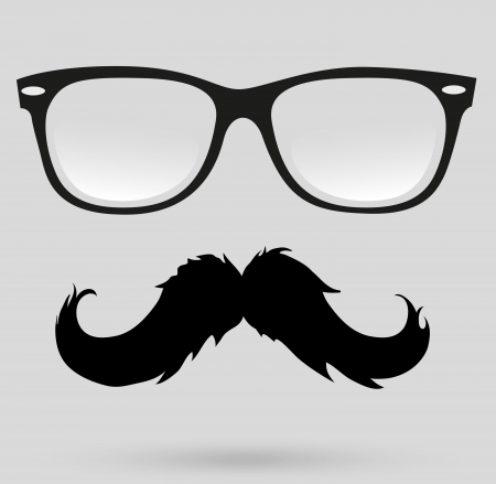 sideburn: mustache glasses Illustration