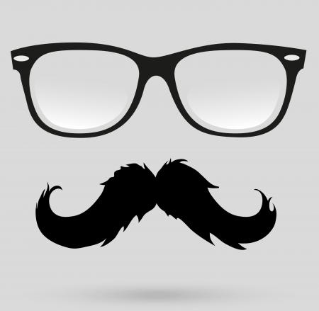 sideburn: mustache glasses Illustration