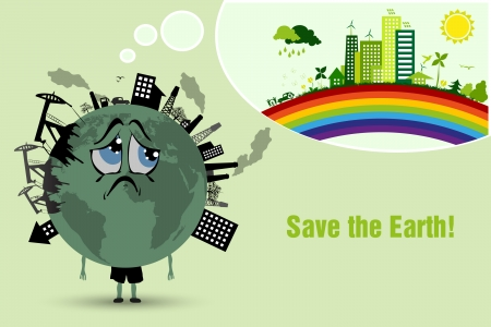 air pollution cartoon: Conserve the earth  environmental pollution Illustration
