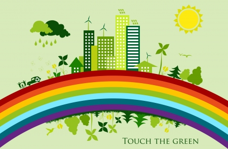 environmental conservation cities  Green City on a rainbow Stock Illustratie