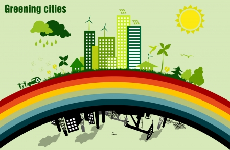 poison sea transport: Greening cities  concept of ecology Illustration