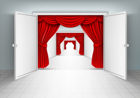 entrance doors with red curtains Vector