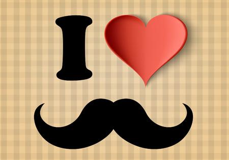 mustaches: I love hipster sign Illustration