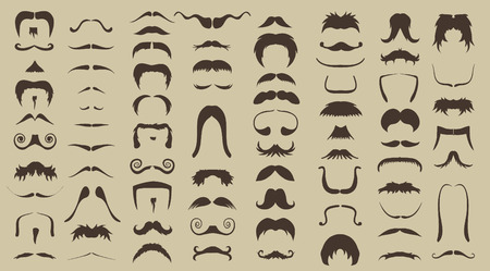 red beard: vector set of mustache in retro style