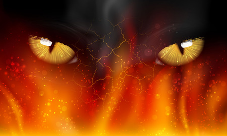 cat s eyes on fire Vector