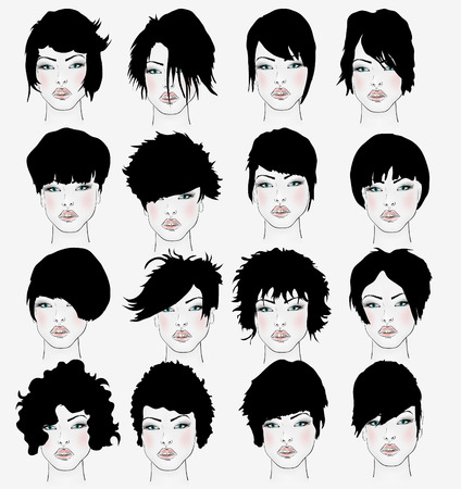vector set of female hair styles with beautiful face Vector
