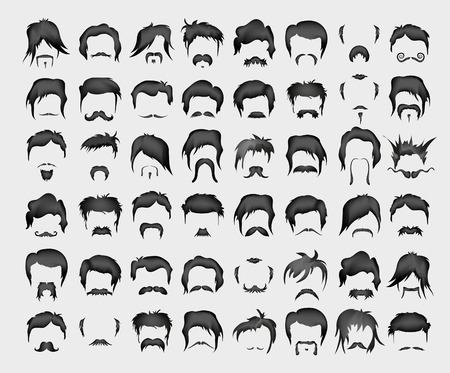 vector set of whiskers and hairstyles 일러스트