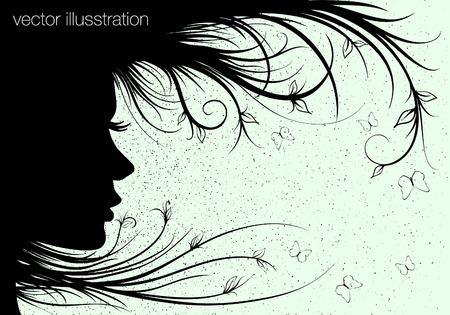 Woman sihouette, floral hairstyle Vector