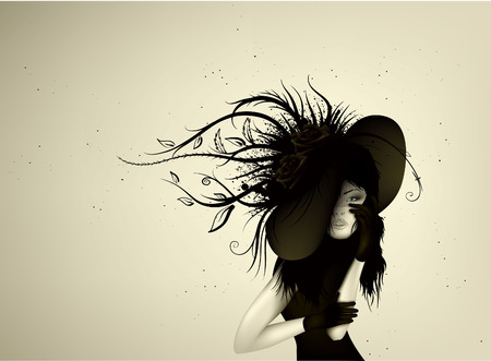 The beautiful woman in a hat Vector