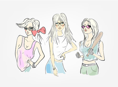 group of three girls Vector