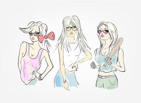 educacion fisica: grupo de tres chicas