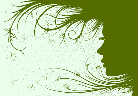 Beautiful woman with floral Vector