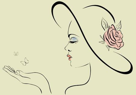 vintage lady: Mooie vrouw dragen van vintage hoed