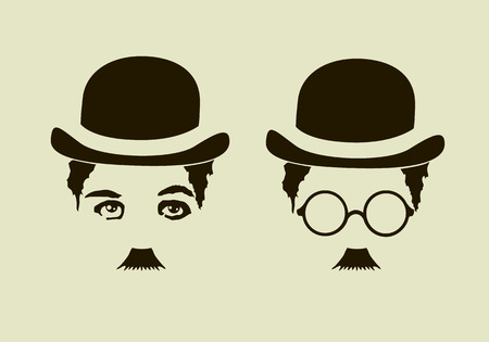 chaplin: Retro hat, mustaches, glasses